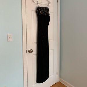 JS Boutique Black Velvet Evening Gown